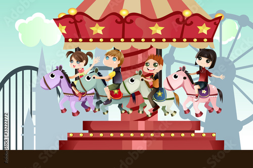 Fotografie, Obraz  Children in amusement park