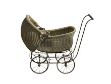 Vintage Baby Carriage On A White Background