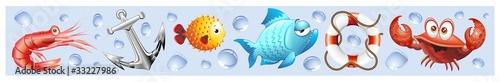 Photo Animali Mare Sfondo Banner-Sea Animal Background-Vector-3