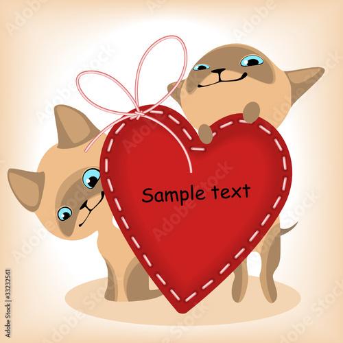 Printed kitchen splashbacks Cats heart. Siamese kittens.