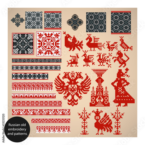 Foto op Aluminium Pixel Russian old embroidery and patterns. Vector illustration.
