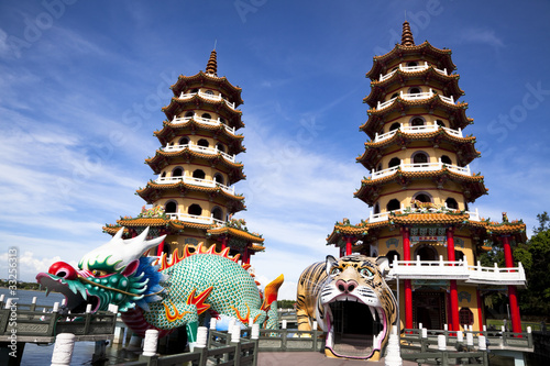 Papiers peints Con. ancienne Famous Tower and dragon and tiger, taiwan