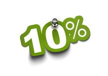 Ten Percent Green Sticker Fixed On A White Wall