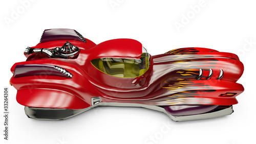Fotobehang Snelle auto s thunder fire car top side view