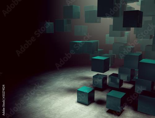 espacio interior 3d con cubos