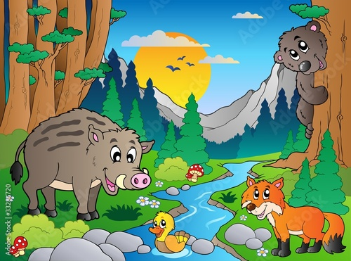 La pose en embrasure Forets enfants Forest scene with various animals 3