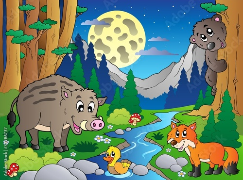Ingelijste posters Rivier, meer Forest scene with various animals 4