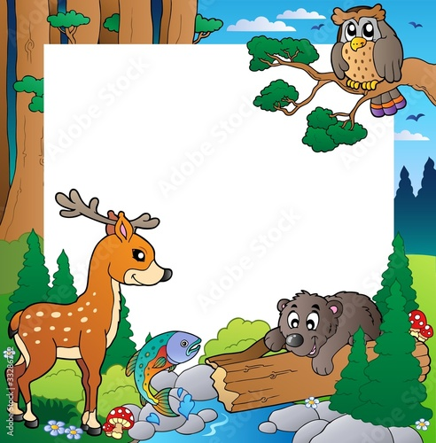 La pose en embrasure Forets enfants Frame with forest theme 1