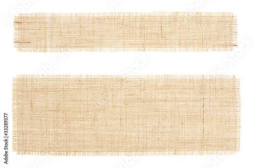 Poster Tissu Set of sackcloth tags. Burlap. Canva