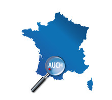 Auch : Localisation Sur Carte De France - Département Du Gers