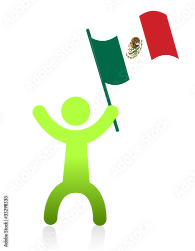Photo  Icon man illustration design waving a mexican flag
