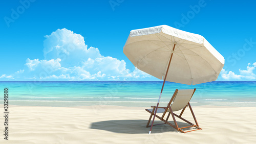 "Community-Maske mit Motiv ""Wolf"" - Beach chair and umbrella on idyllic tropical sand beach (von sellingpix)"