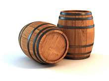 Two Wine Barrels Isolated On T...