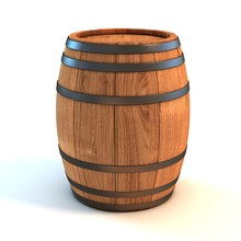 Wine Barrel Over White Backgro...