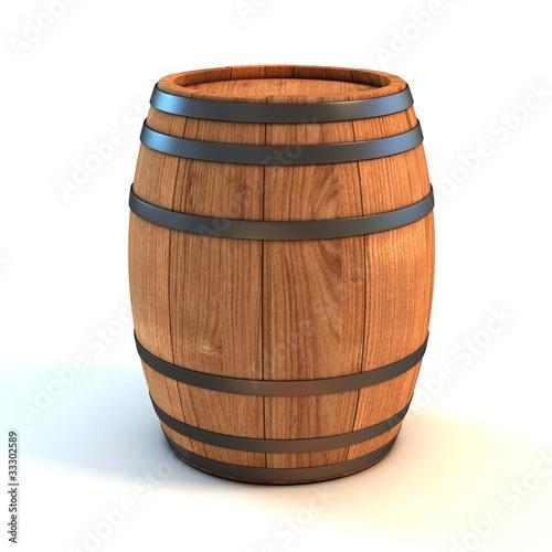 Obraz na płótnie wine barrel over white background 3d illustration