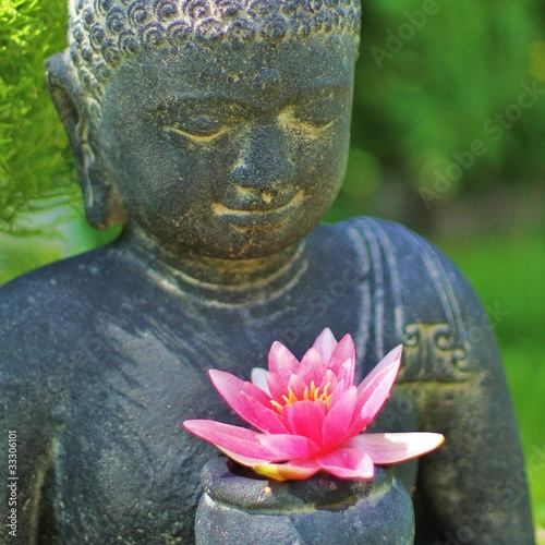 Plissee mit Motiv - Buddha mit Lotusblüte