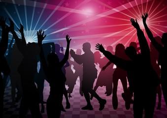 Disco Dance - colored background illustration