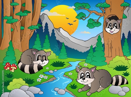 La pose en embrasure Forets enfants Forest scene with various animals 6