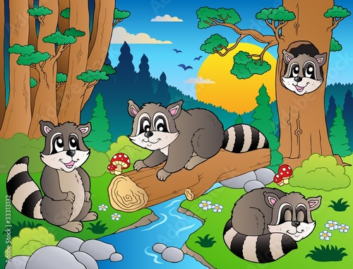 La pose en embrasure Forets enfants Forest scene with various animals 7