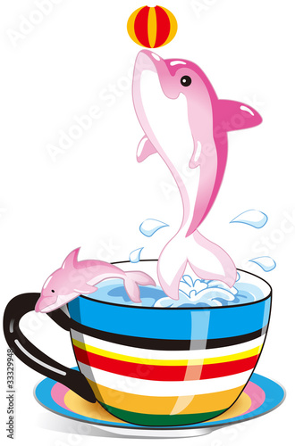 Poster Dolfijnen dolphin in the rainbow cup