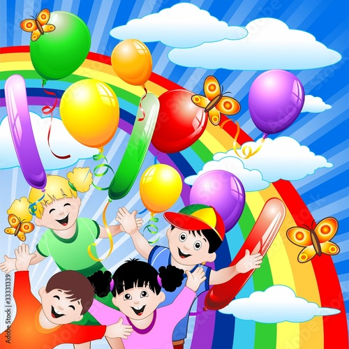 Poster Regenboog Compleanno Bambini e Palloncini-Children Birthday and Balloons
