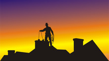 Working On The Roof Chimney Sweep
