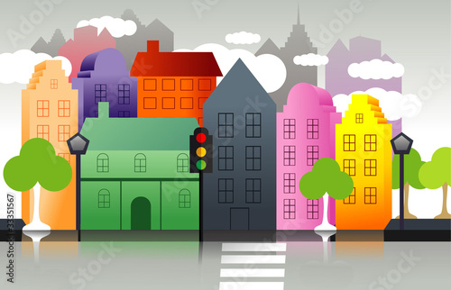 town color vector illustration