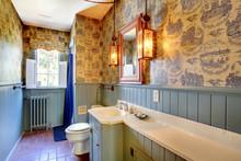 Blue Antique Bathroom Original From 1856 Unchanged