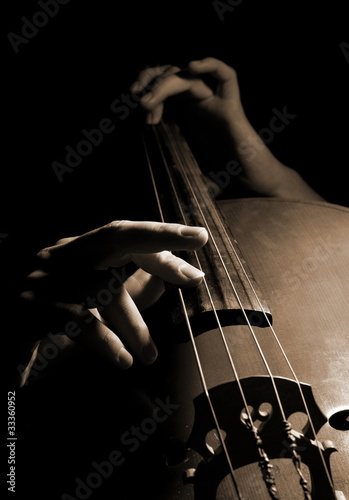 Photographie Musician playing contrabass