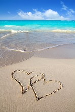 Hearts In Love Written In Caribbean Beach Sand