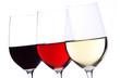 canvas print picture Three Wine Glasses Isolated on White
