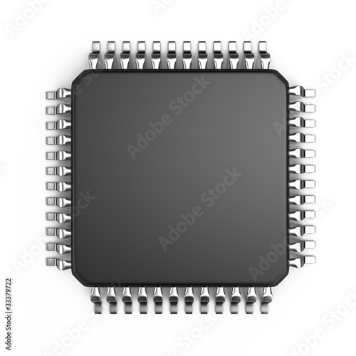 Fotografía  Microchip isolated on white background