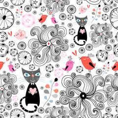fototapeta kwiatowy wzór z czarnych kotów i ptaków
