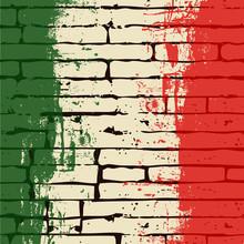 Grunged Italian Flag Over A Brick Wall