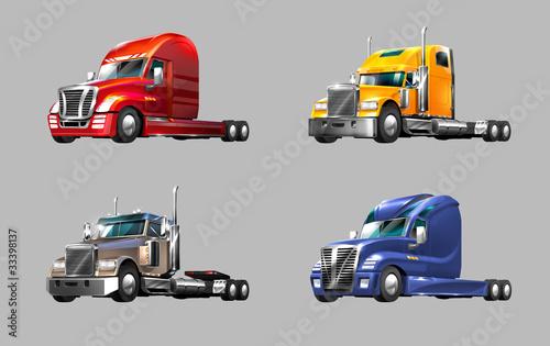 Foto op Canvas Cars set of different trucks