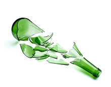 Broken Green Bottle Drink Alcohol Waste