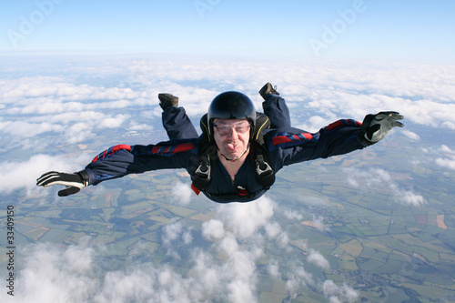 Fotografie, Obraz  Close-up of skydiver in freefall