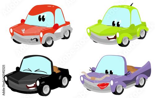 Staande foto Cartoon cars cute cartoon car characters