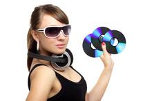 Girl Holding Three CD