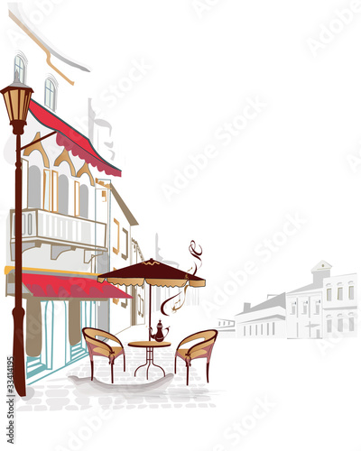 Keuken foto achterwand Drawn Street cafe City views with cozy cafes
