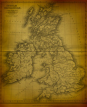 Old Map Of The Great Britain V2