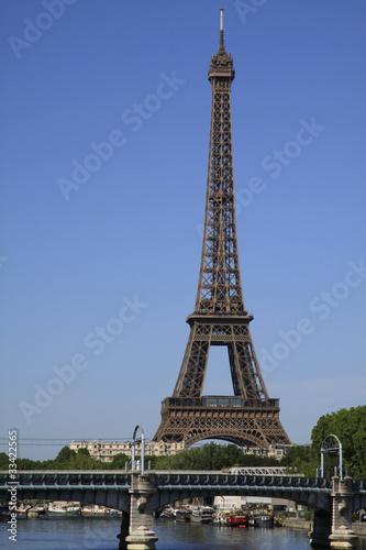 Aluminium Prints Paris Eiffel tower and bridge