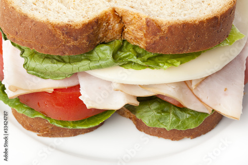 Staande foto Snack A large turkey sandwhich