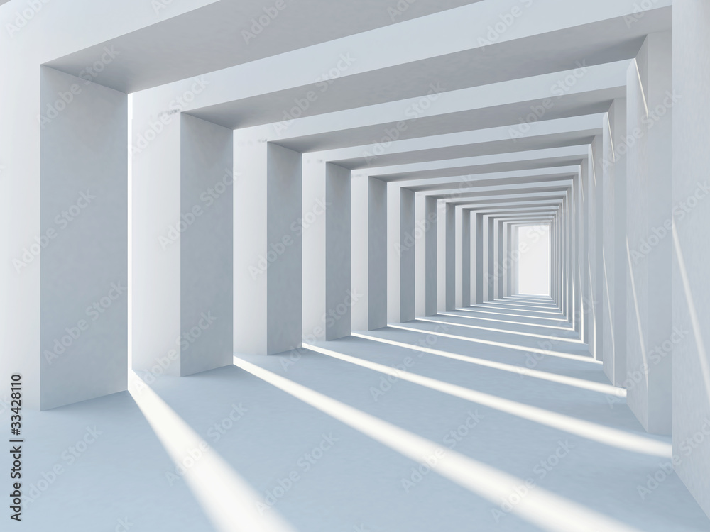 Fototapety, obrazy: Abstract interior architecture with row of plain columns