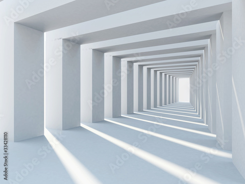 Abstract interior architecture with row of plain columns