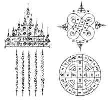 Thai Tattoo Ancient. Vector Template