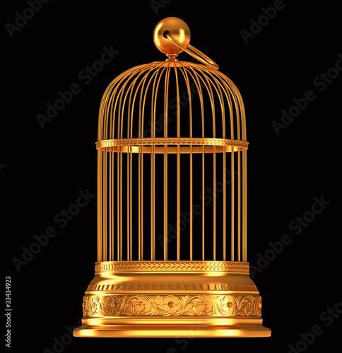 Photo Golden birdcage isolated on black