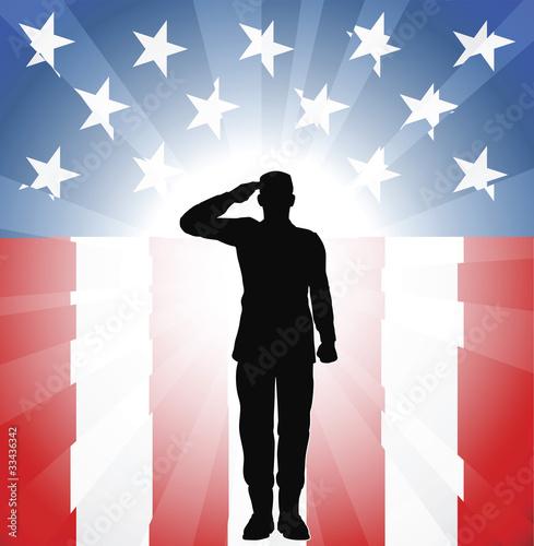 Photo  Patriotic soldier salute