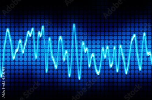 Fotografie, Obraz  blue electronic sine sound wave