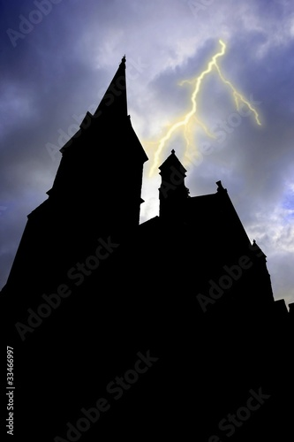 Recess Fitting Castle Silhouetted Building and Lightning